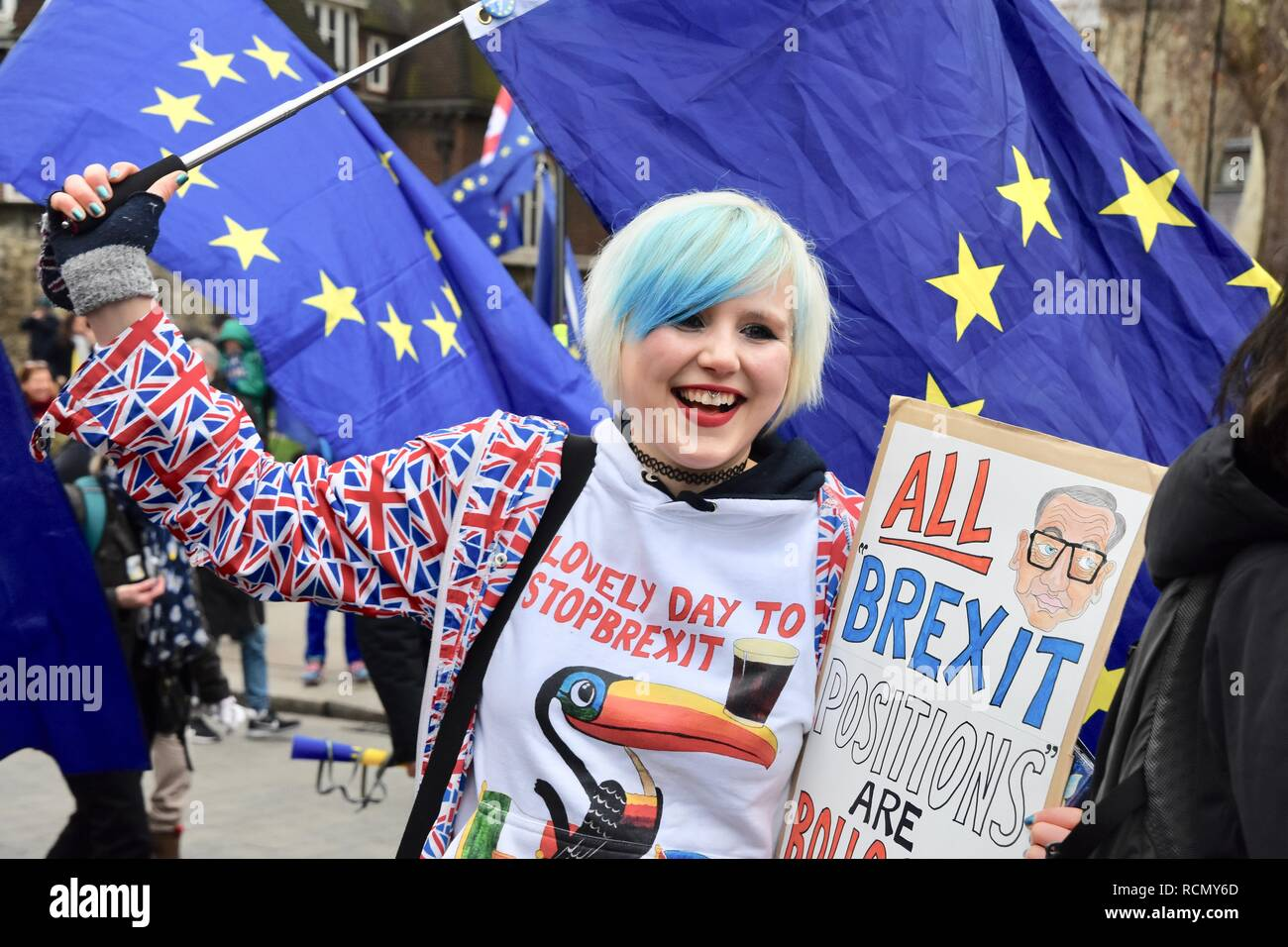 Madeleine Kay (Alba White Wolf) Pro EU Remainer. Pro and Anti Brexit Protesters gathered outside Parliament on the day of Theresa May's meaningful vote.Houses of Parliament,Westminster,London.UK - Stock Image