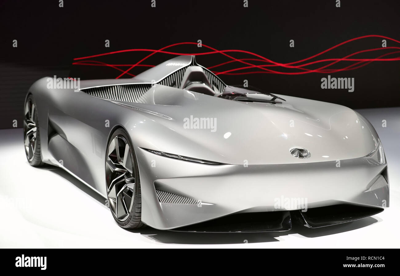 Detroit. 15th Jan, 2019. Photo taken on Jan. 15, 2019 shows an Infiniti concept vehicle Prototype 10 at the 2019 North American International Auto Show (NAIAS) in Detroit, the United States. The annual Detroit auto show opened Monday and will last till Jan. 27. Credit: Wang Ping/Xinhua/Alamy Live News - Stock Image