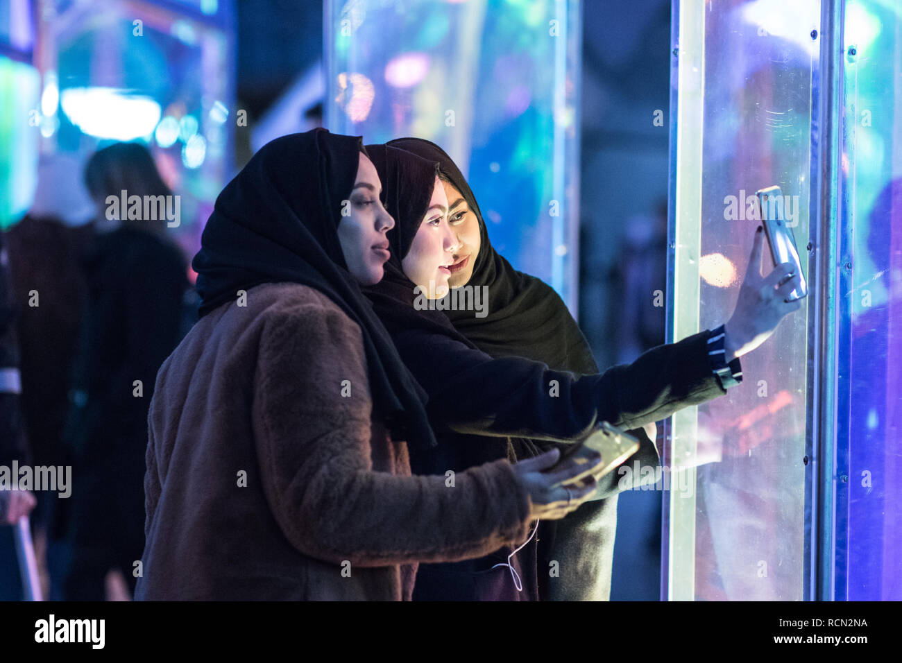 Canary Wharf, London, UK, 15th January, 2019. The 'Prismatica' installation in Jubilee Square. The  Canary Wharf Winter Lights installations  open to the public  in and around Canary Wharf from Jan 15th until Jan 26th. Credit: Carol Moir/Alamy Live News Stock Photo