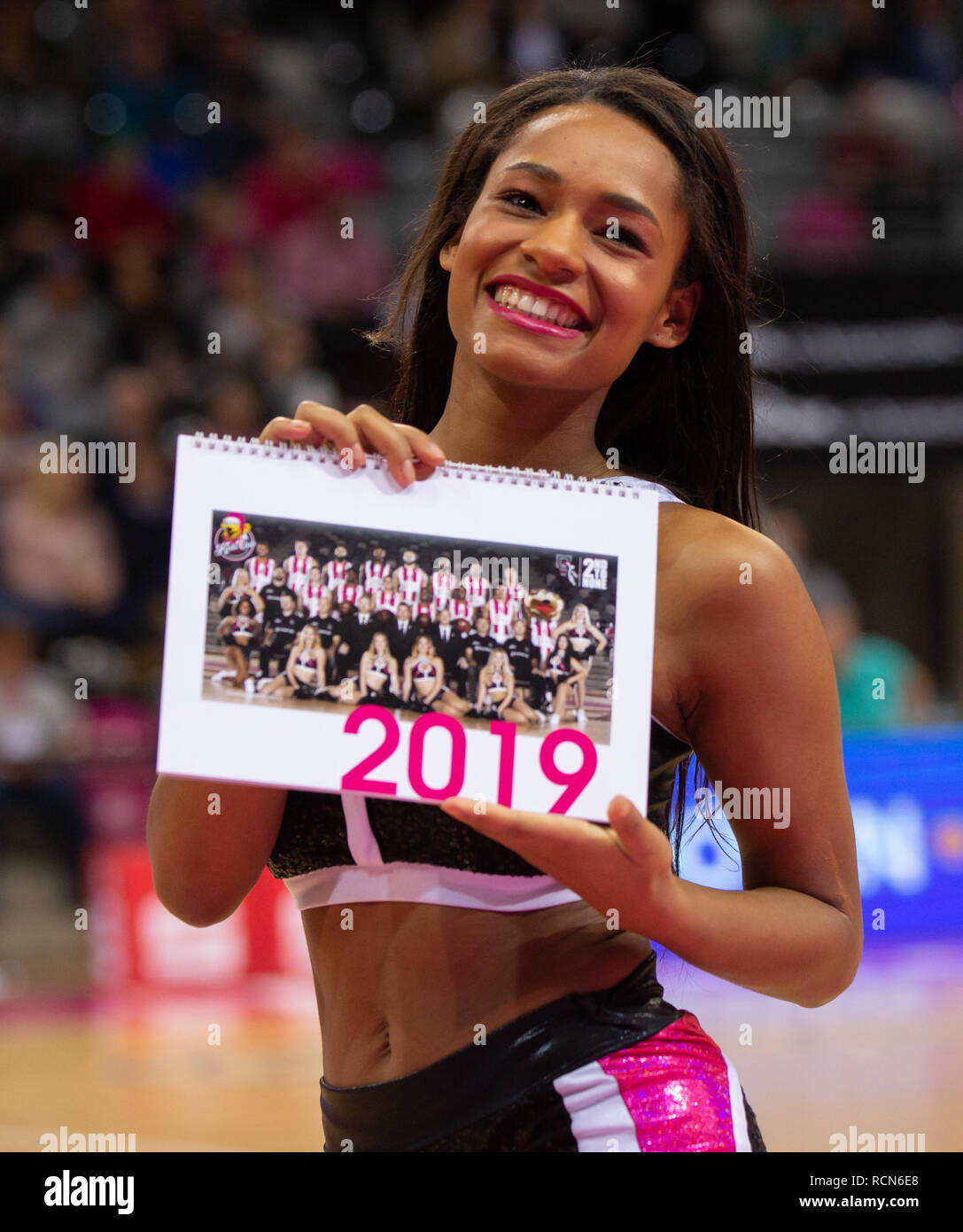 Bonn, Germany, 15th January 2019, Basketball, Champions League, Telekom Baskets Bonn vs Fribourg Olympic Basket: Cheerleader des Telekom Baskets Dance Team. Credit: Juergen Schwarz/Alamy Live News - Stock Image