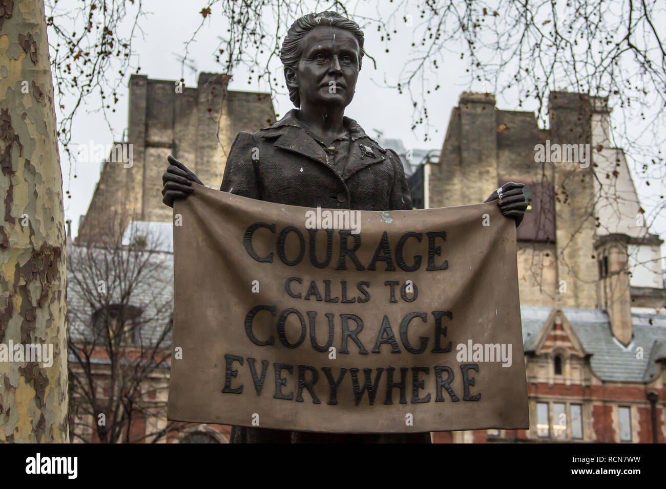 London, UK. 15th Jan, 2019. The protest took place under the Millicent Fawcett statue. Climate protesters from 'London Earth Strike' rallied in Parliament square to demand Government policy change to reverse climate change. Credit: David Rowe/Alamy Live News - Stock Image