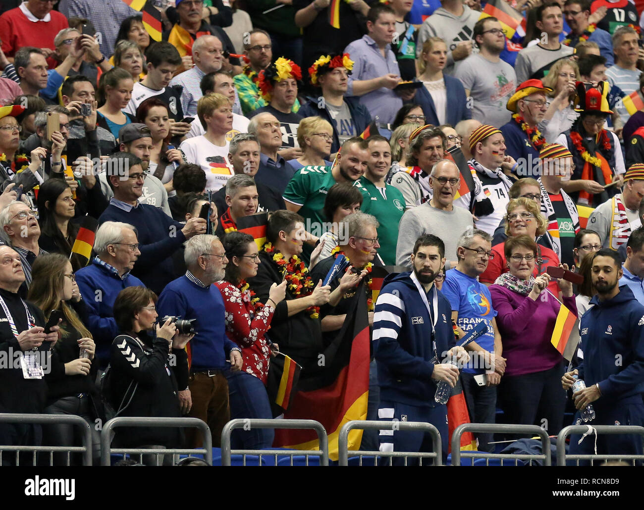 Berlin, Germany. 15th January, 2019.Handball legend Nikola Karabatic goes in the stand to watch Team France taking on IHF World Championship co-host Team Germany Credit: Mickael Chavet/Alamy Live News - Stock Image