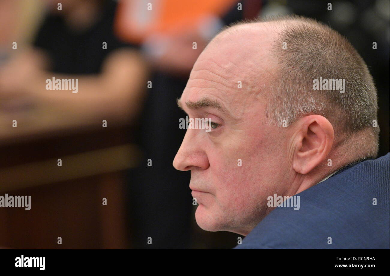 Moscow, Russia. 16th Jan, 2019. MOSCOW, RUSSIA - JANUARY 16, 2019: Chelyabinsk Region Governor Boris Dubrovsky looks on at the Russian President's meeting with government members at the Moscow Kremlin. Alexei Druzhinin/Russian Presidential Press and Information Office/TASS Credit: ITAR-TASS News Agency/Alamy Live News - Stock Image