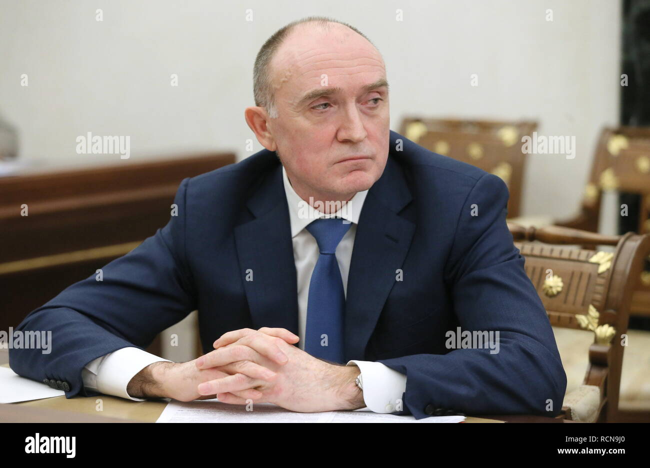 MOSCOW, RUSSIA - JANUARY 16, 2019: Chelyabinsk Region Governor Boris Dubrovsky attends the Russian President's meeting with government members at the Moscow Kremlin. Yekaterina Shtukina/Russian Government Press Office/TASS Credit: ITAR-TASS News Agency/Alamy Live News - Stock Image