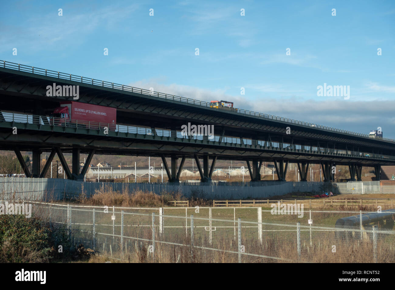 Tinsley Viaduct, a two tier road bridge at Tinsley, Sheffield. - Stock Image