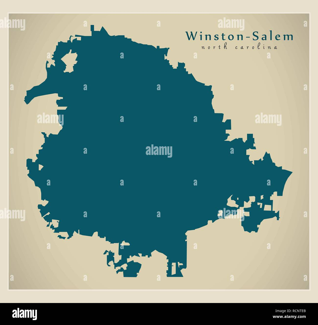 Modern City Map - Winston-Salem North Carolina city of the USA Stock ...