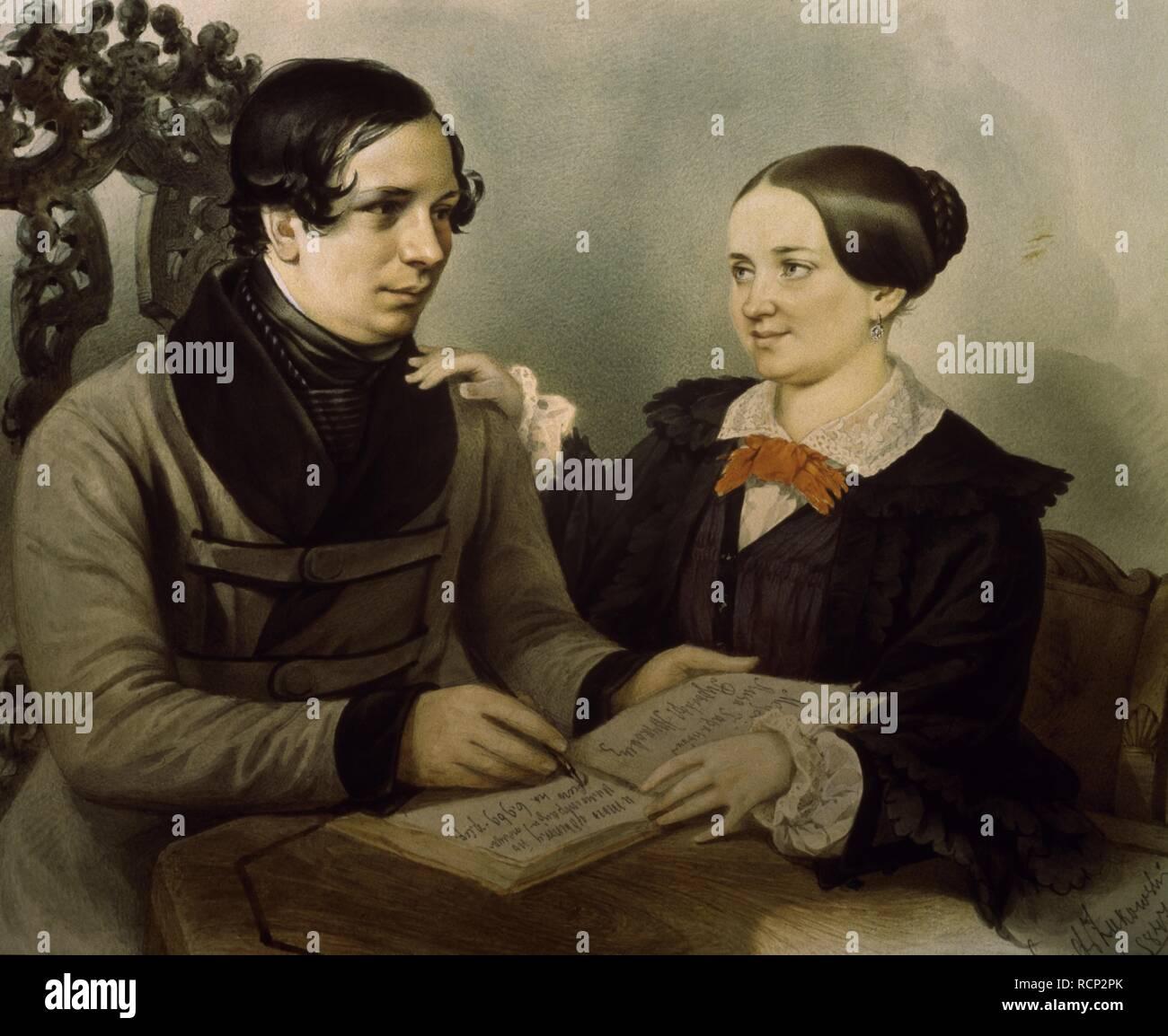 Portrait of the author Nestor Kukolnik (1809-1868) with his wife. Museum: State Russian Museum, St. Petersburg. Author: Zhukovsky, Rudolf Kasimirovich. - Stock Image