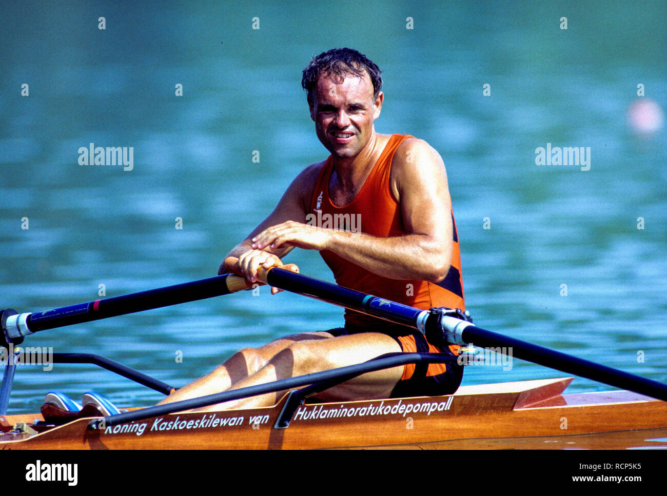 Barcelona Olympics 1992 - Lake Banyoles, SPAIN,   NED LM1X. Frans GOEBEL, [Mandatory Credit: Peter Spurrier/Intersport Images] Stock Photo