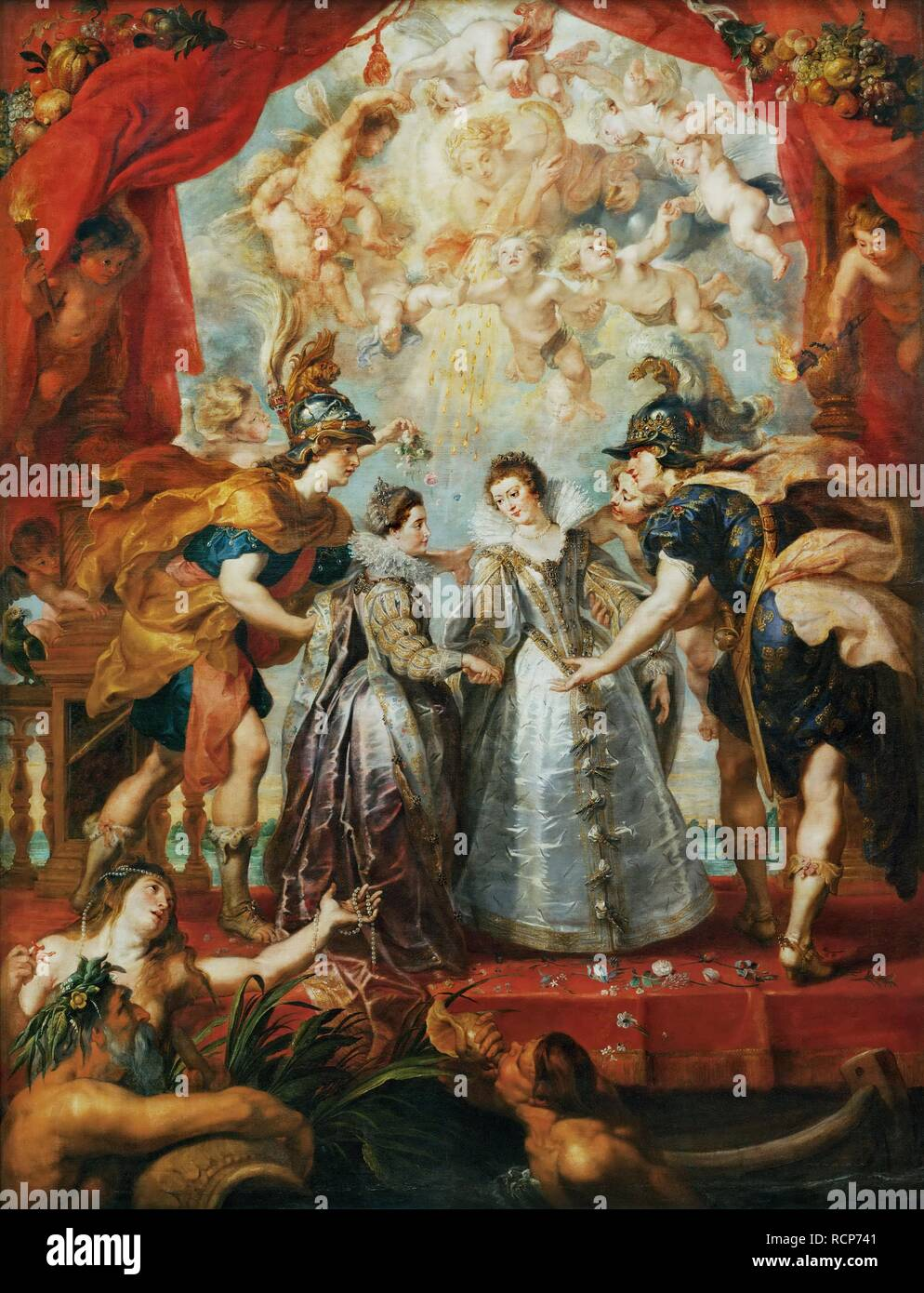 The Exchange of the Princesses at the Spanish Border. (The Marie de' Medici Cycle). Museum: Musee du Louvre, Paris. Author: Rubens, Pieter Paul. Stock Photo