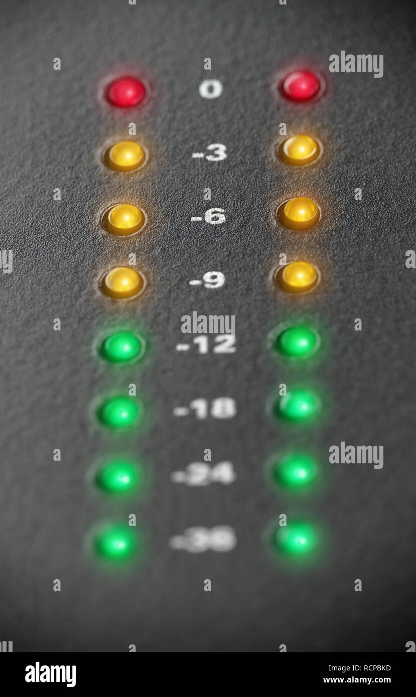 Audio recording level lights clipping, selective focus on -6db - Stock Image
