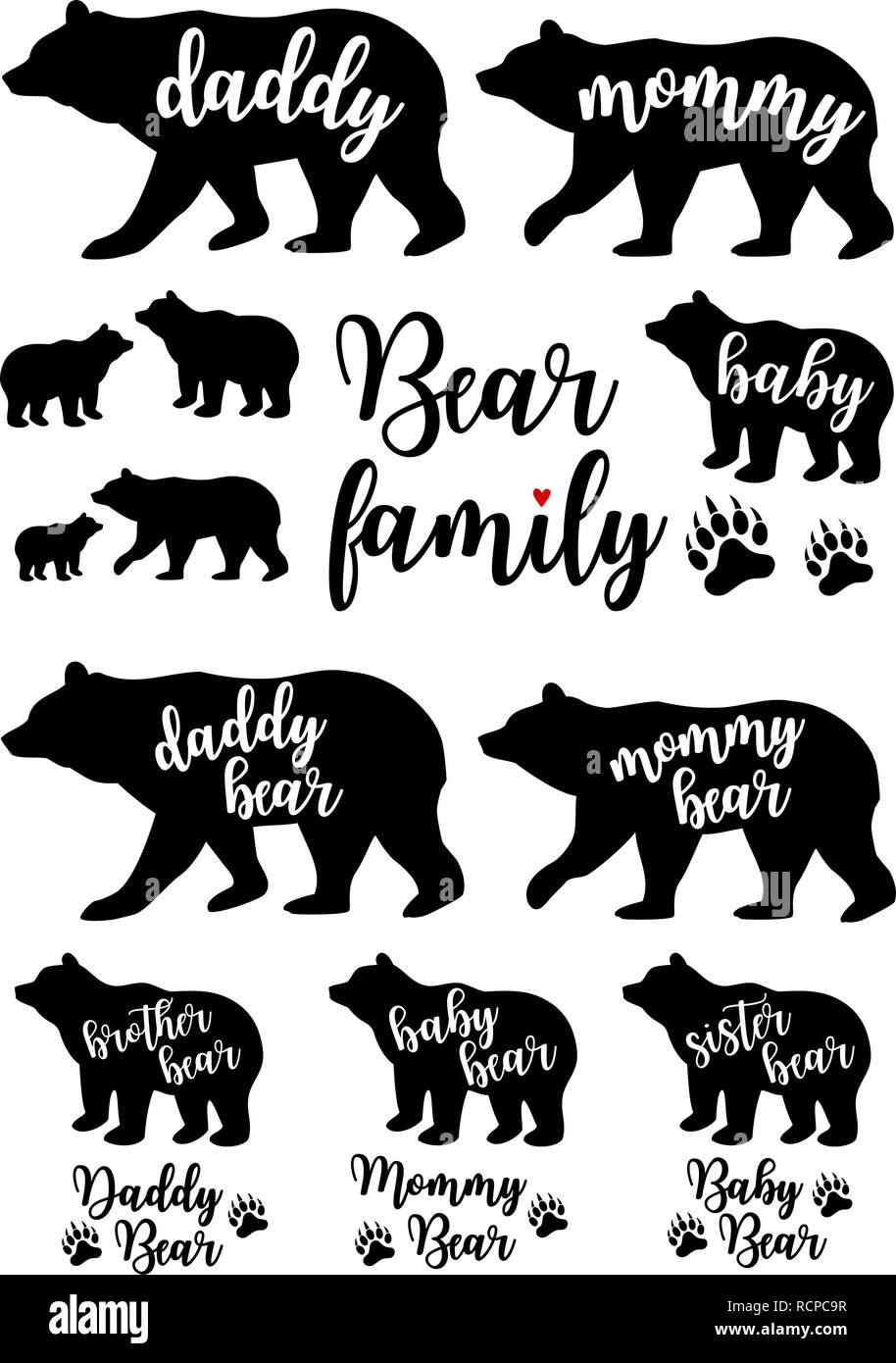 Daddy bear, mommy bear, baby, bear family silhouettes, Mother's day, Father's day, set of vector graphic design elements - Stock Image