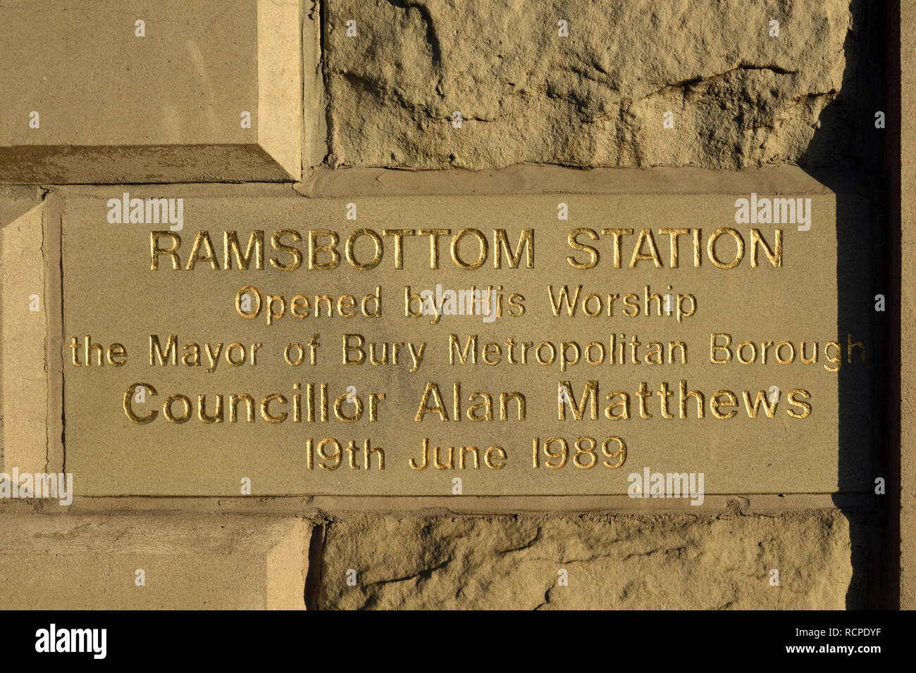 Ramsbottom heritage railway station date stone with gold lettering in lancashire uk - Stock Image
