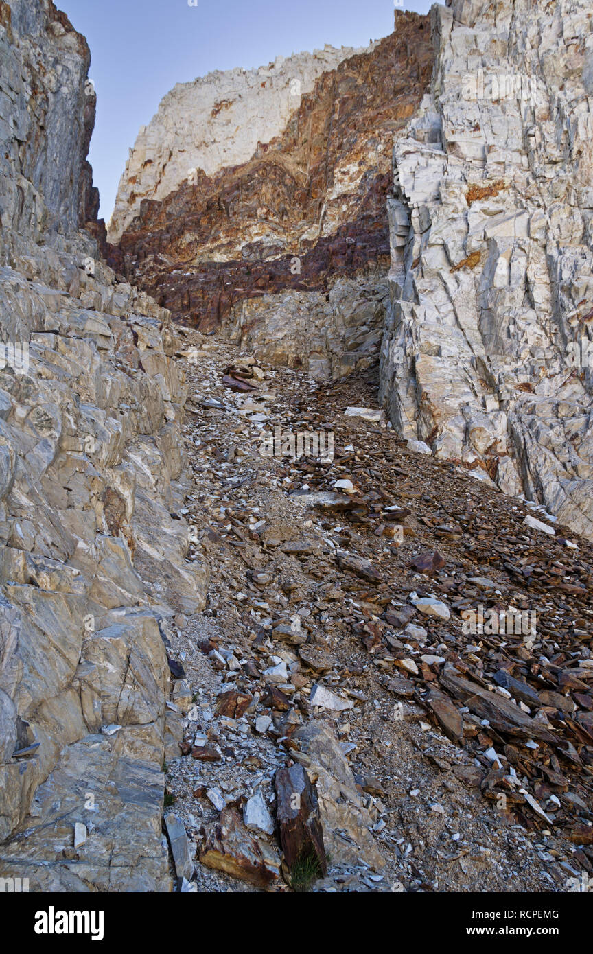 steep loose rocky gully up McGee Pass Peak in the Sierra Nevada Mountains - Stock Image