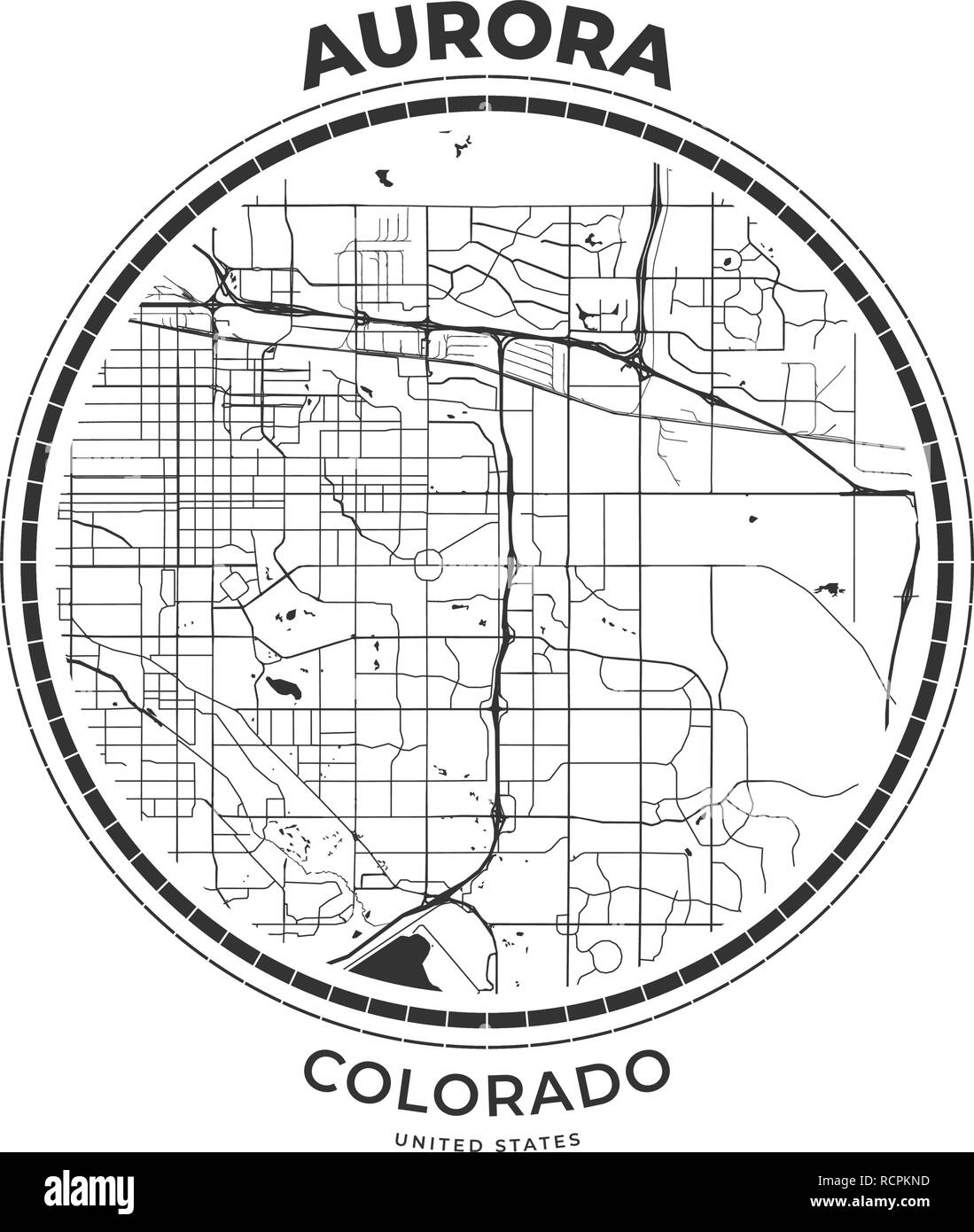 T-shirt map badge of Aurora, Colorado. Tee shirt print ...