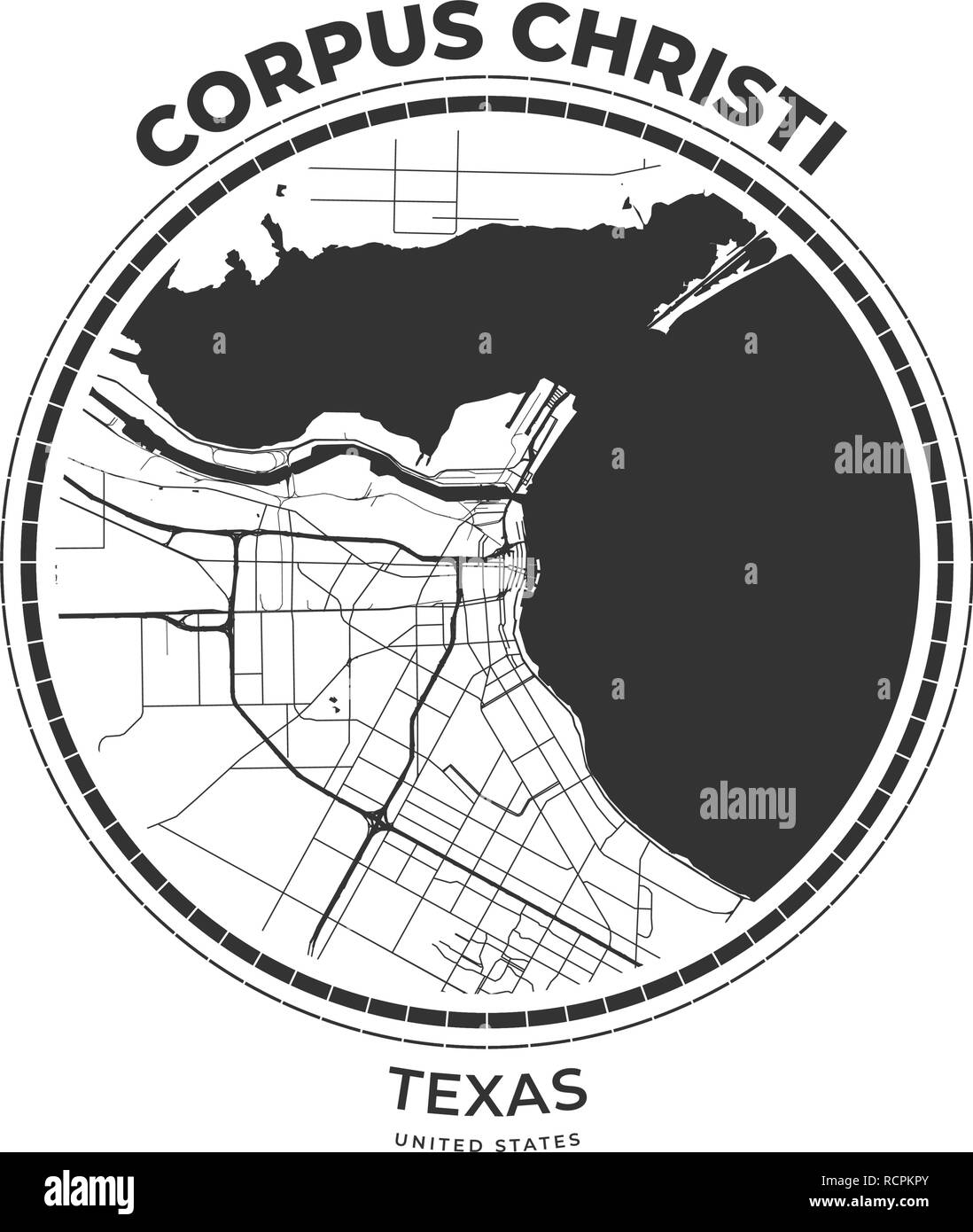T-shirt map badge of Corpus Christi, Texas. Tee shirt print typography label badge emblem. Vector illustration - Stock Image