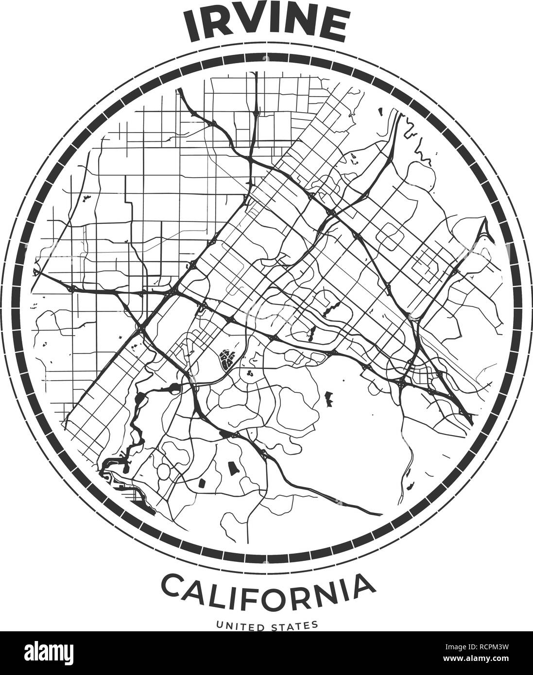 T-shirt map badge of Irvine, California. Tee shirt print ...