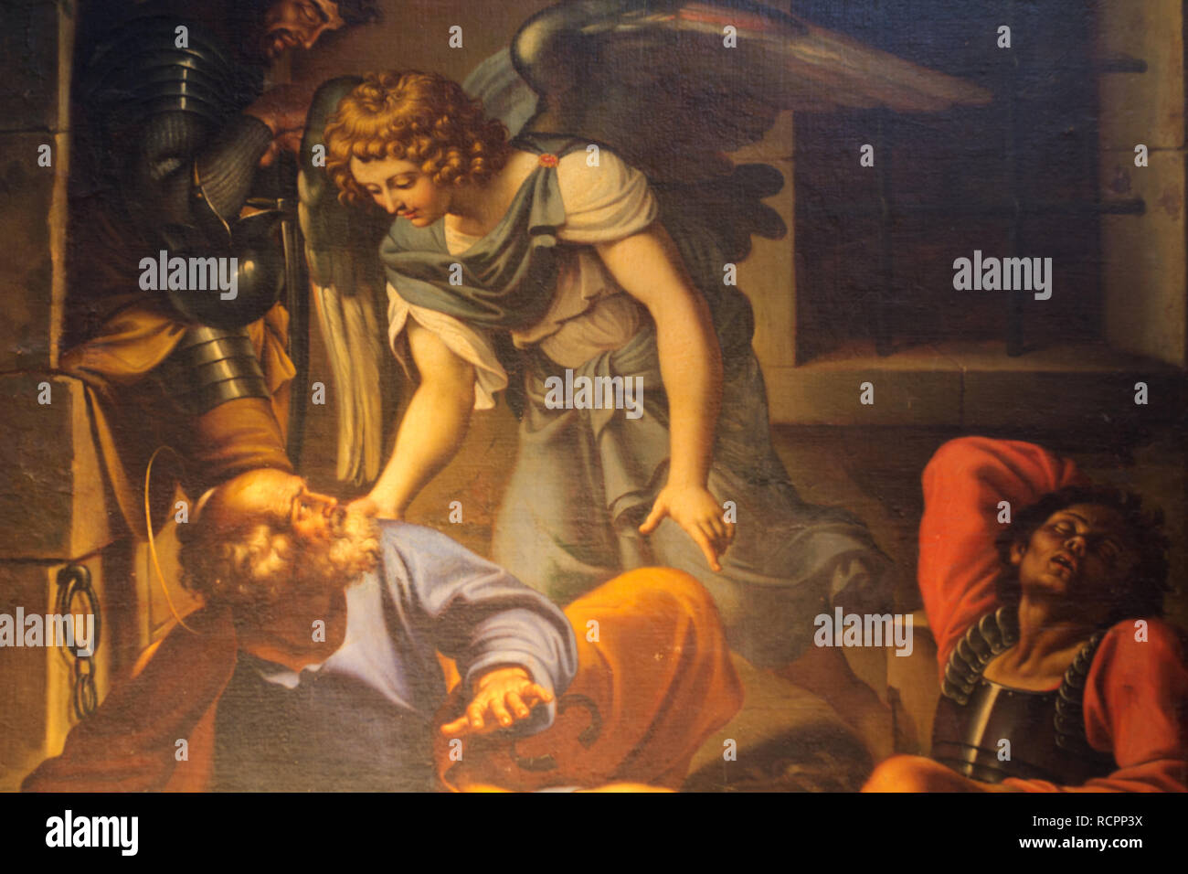 St Peter set free by an Angel of the Lord (detail of a copy by Domenichino) - Basilica of san Pietro in vincoli (St. Peter's in Chains) - Rome Stock Photo