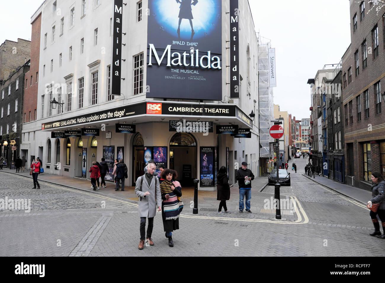 Cambridge Theatre street view of Matilda the musical Roald Dahl show in London England UK    KATHY DEWITT Stock Photo