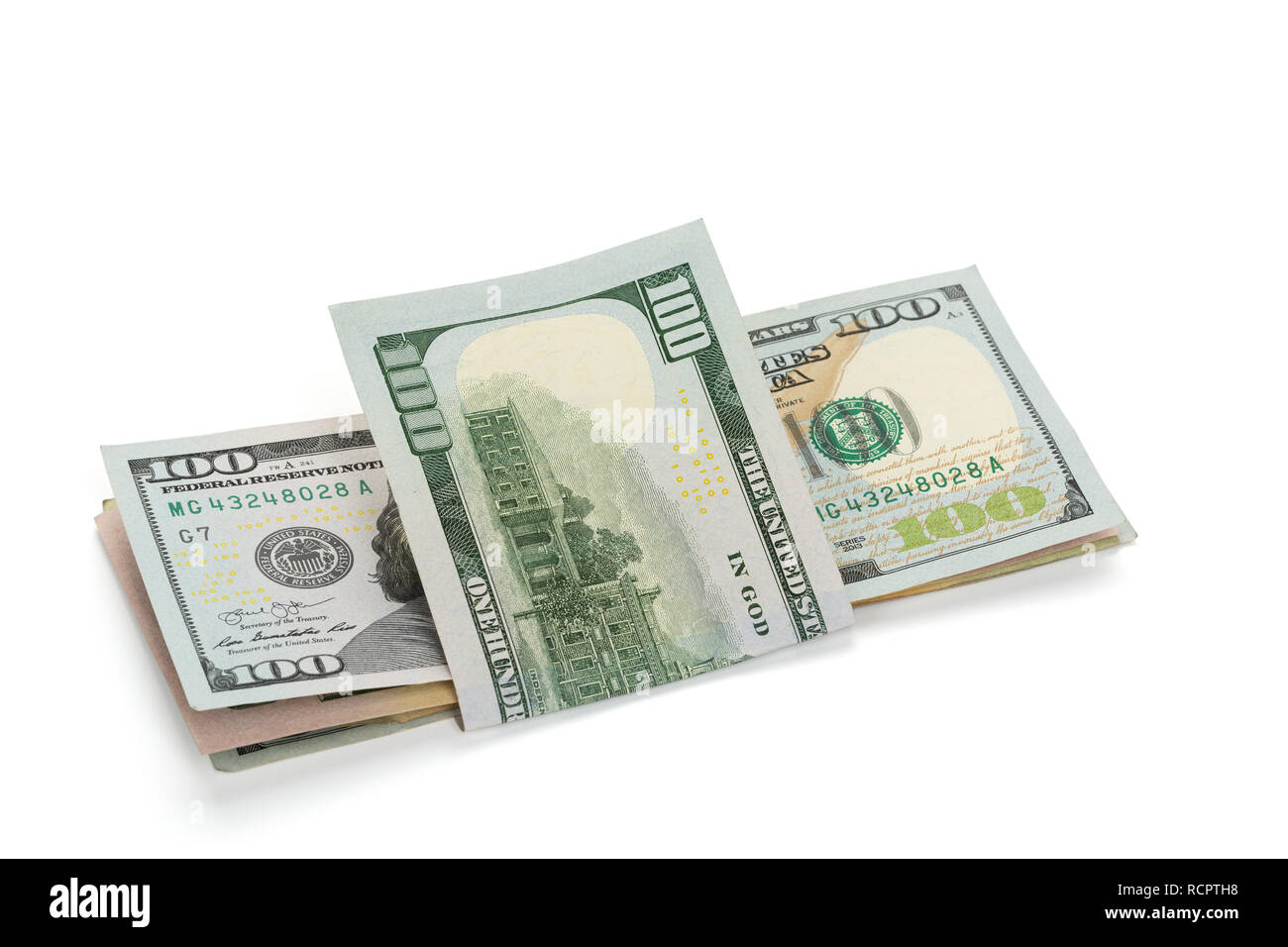 Stack of US-Dollar Banknotes, isolated on white background, clipping-path included - Stock Image
