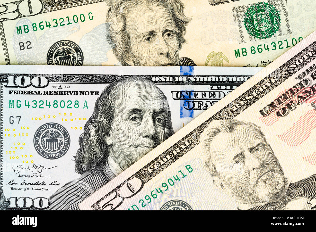 US-Dollar Banknotes as image background, view from above - Stock Image