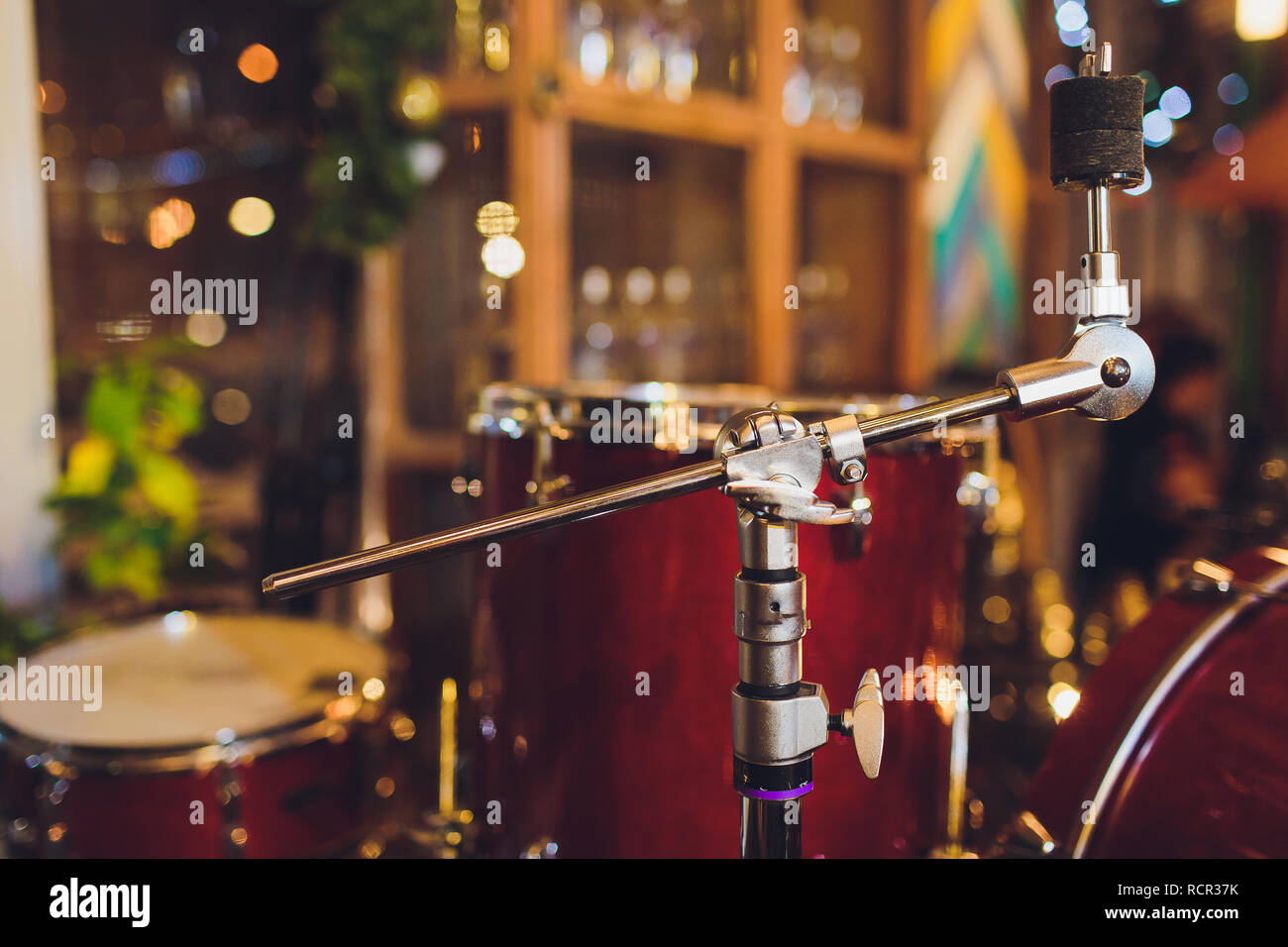Drums conceptual image. Picture of drums and drumsticks lying on snare drum. Retro vintage instagram picture. - Stock Image
