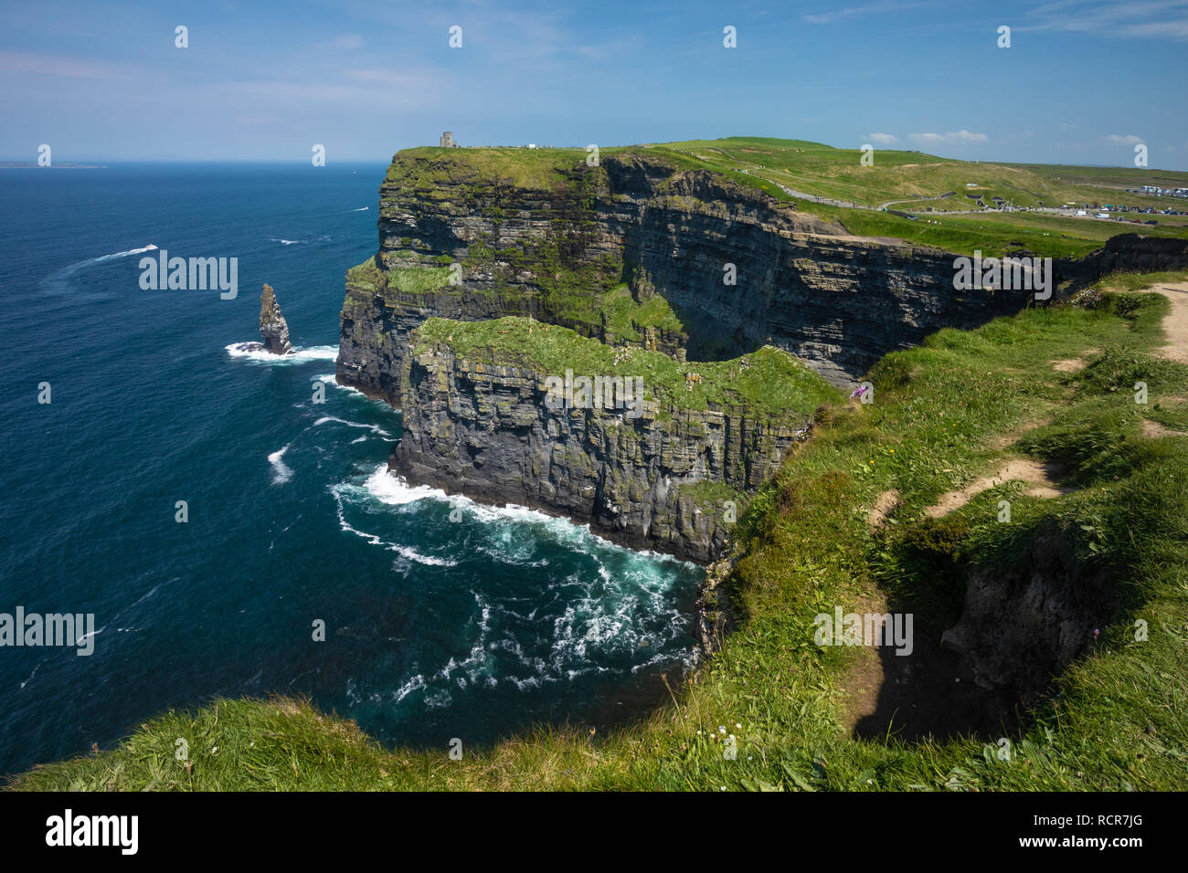 Wild Atlantic Way, Cliffs of Moher, County Clare, Ireland along the Burren Way trail - Stock Image