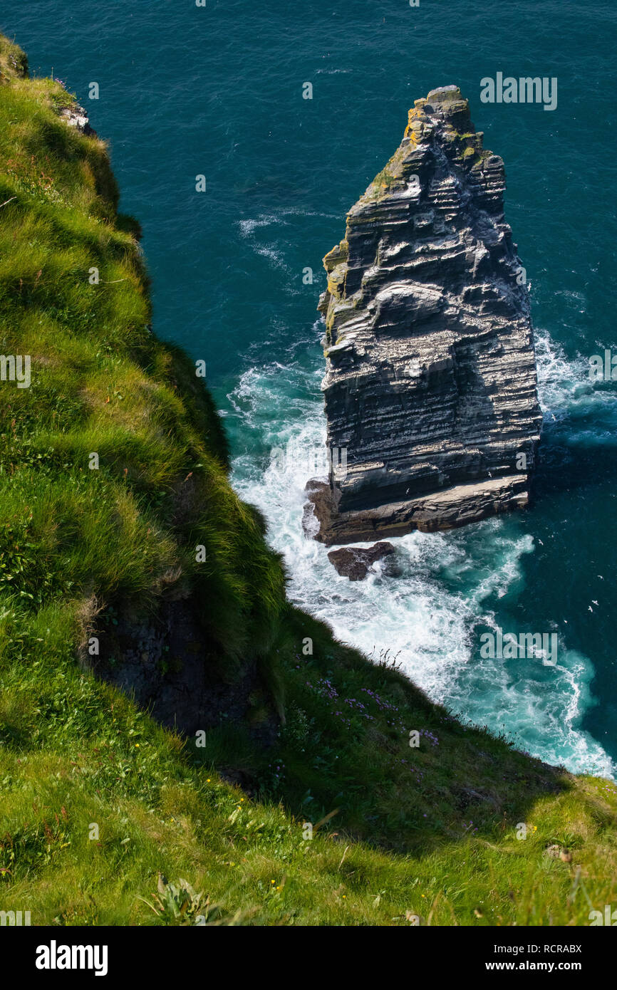 Close-up Vertical of Branaunmore Sea Stack near the Cliffs of Moher, County Clare, Ireland - Stock Image