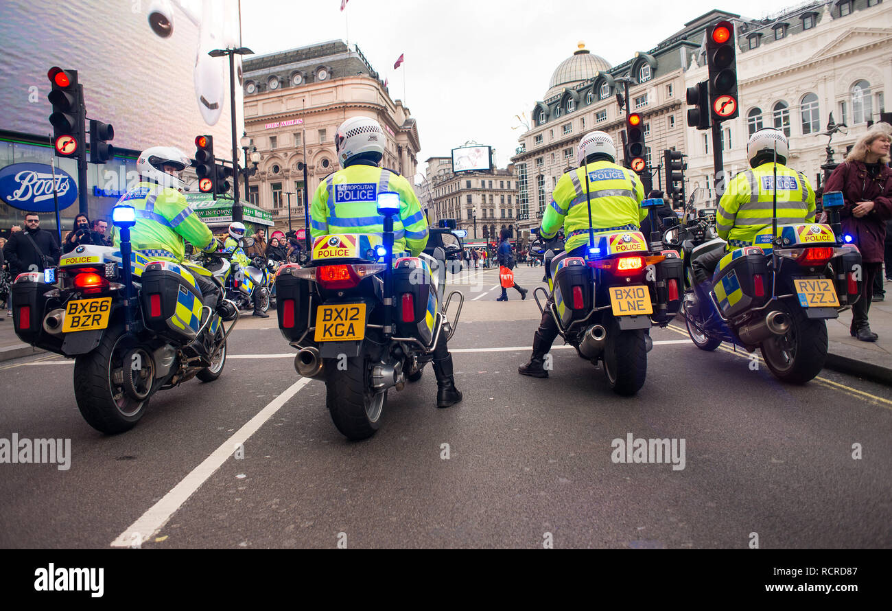 Police motorcycle riders, escort and clear the roads ahead of any traffic  for a planned