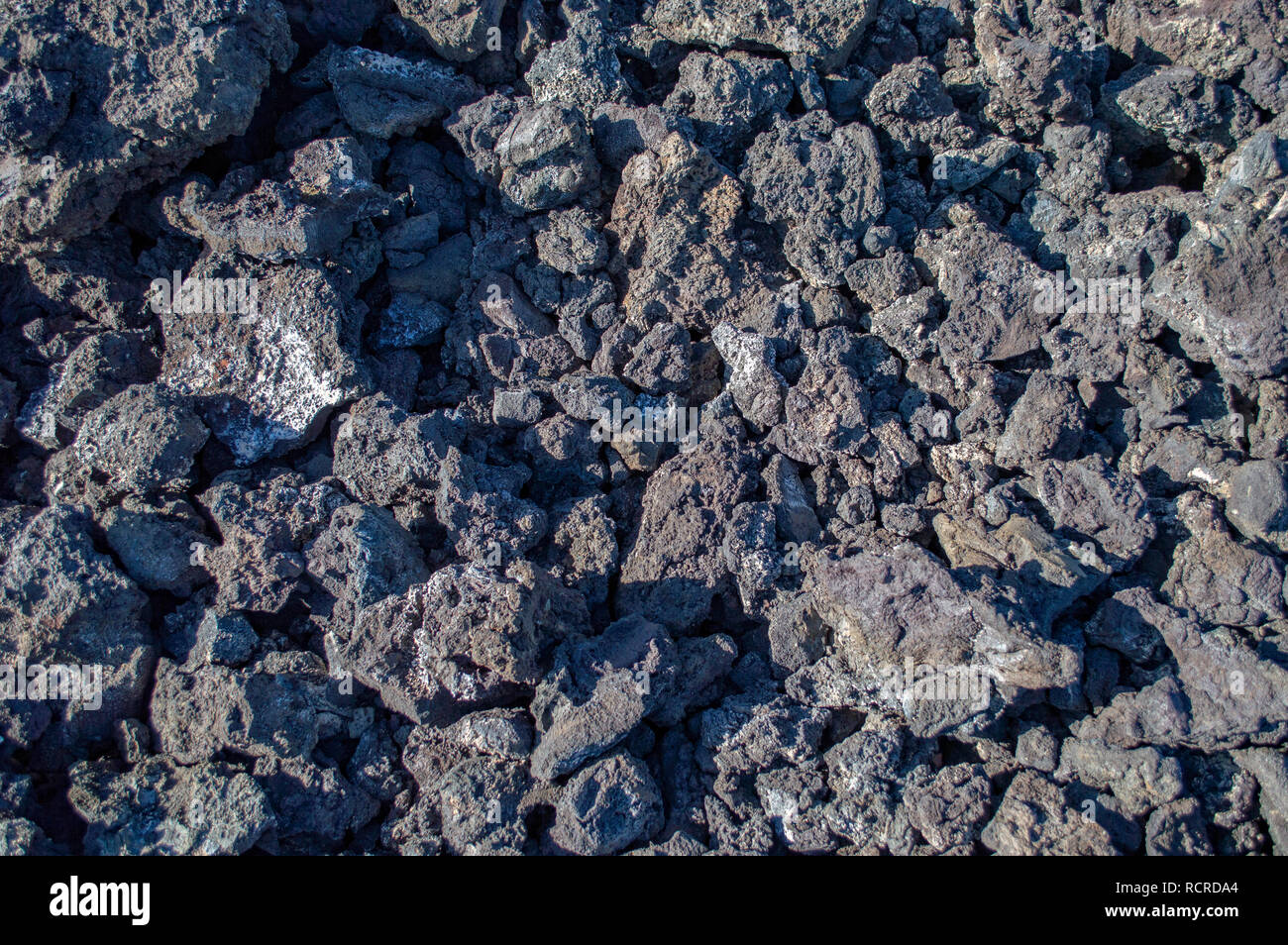 A close up of basaltic rock deposits in Timanfaya National Park in Lanzarote, Canary Islands - Stock Image