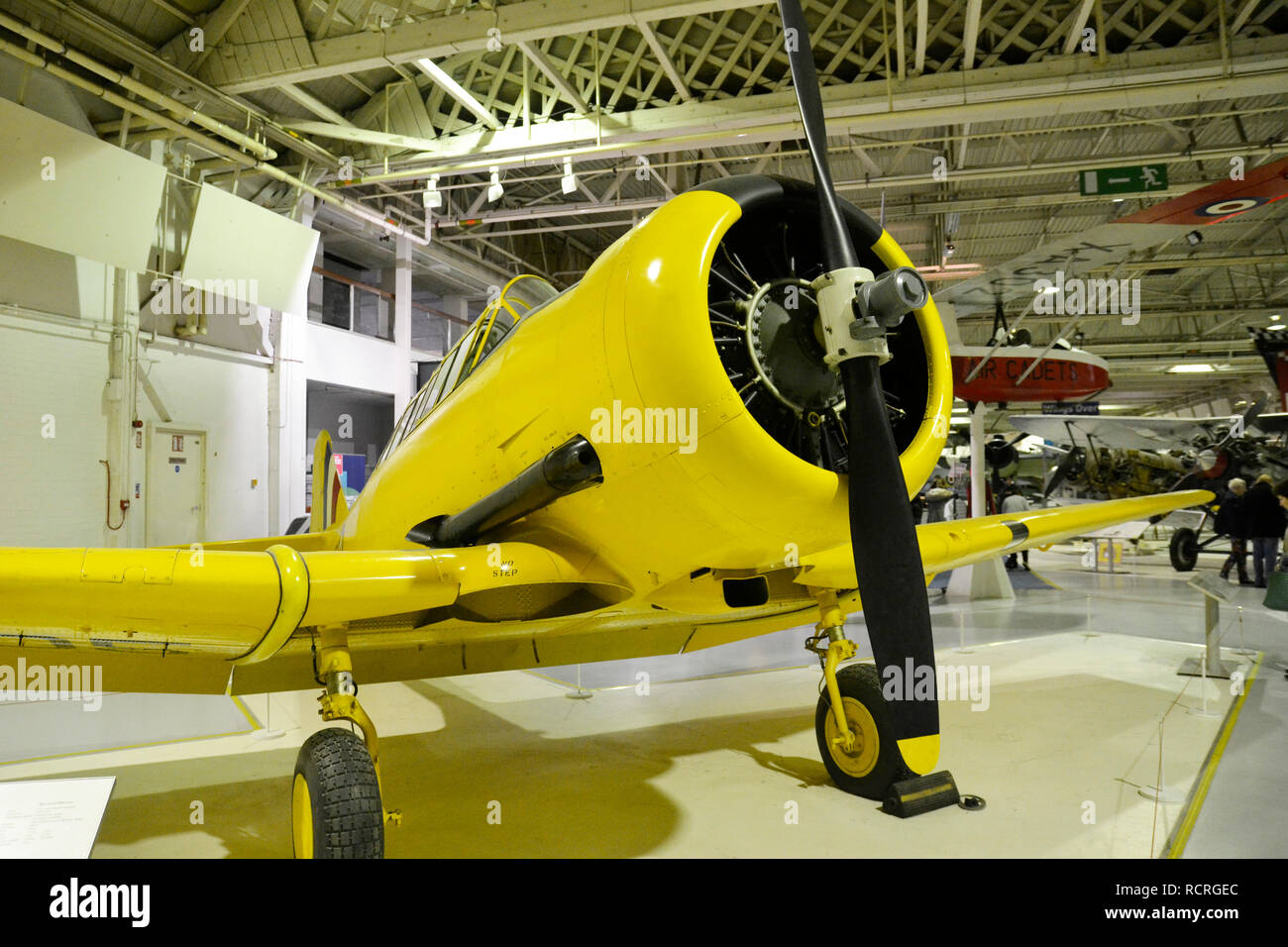 The North American Harvard Advanced Trainer WWII Military Aircraft on display at the RAF Museum, London, UK. Used by British Forces to train pilots. - Stock Image