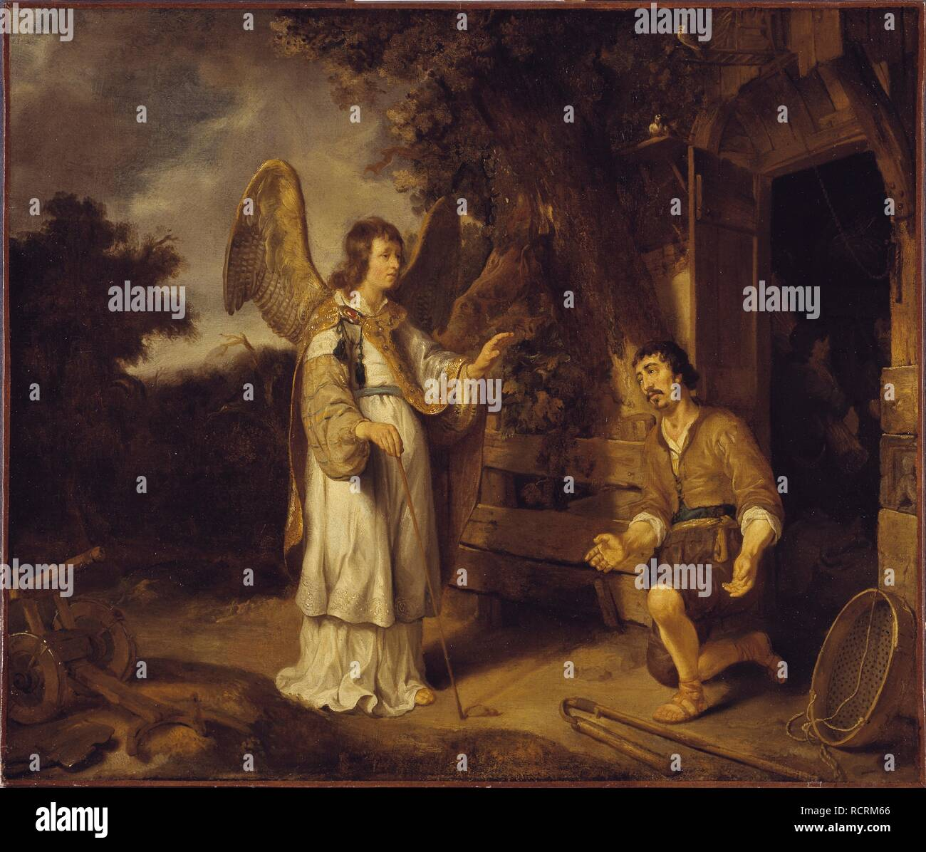 The Angel of the Lord Visits Gideon. Museum: Nationalmuseum Stockholm. Author: Eeckhout, Gerbrand van den. - Stock Image