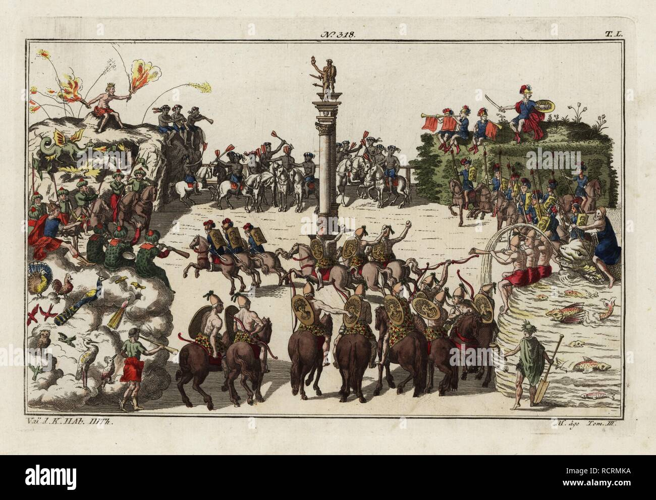 A carousel parade among teams of knights representing the four elements fire, wind, earth and water. Part of the celebration of the birth of Freiderich, Duke of Wurttemberg, 1616. Taken from Delineation und Abbildung aller furstlichen Anzug und Ritterspielen by Esaias von Hulsen, 1617. Handcoloured copperplate engraving from Robert von Spalart's Historical Picture of the Costumes of the Principal People of Antiquity and of the Middle Ages, Chez Collignon, Metz, 1810. - Stock Image