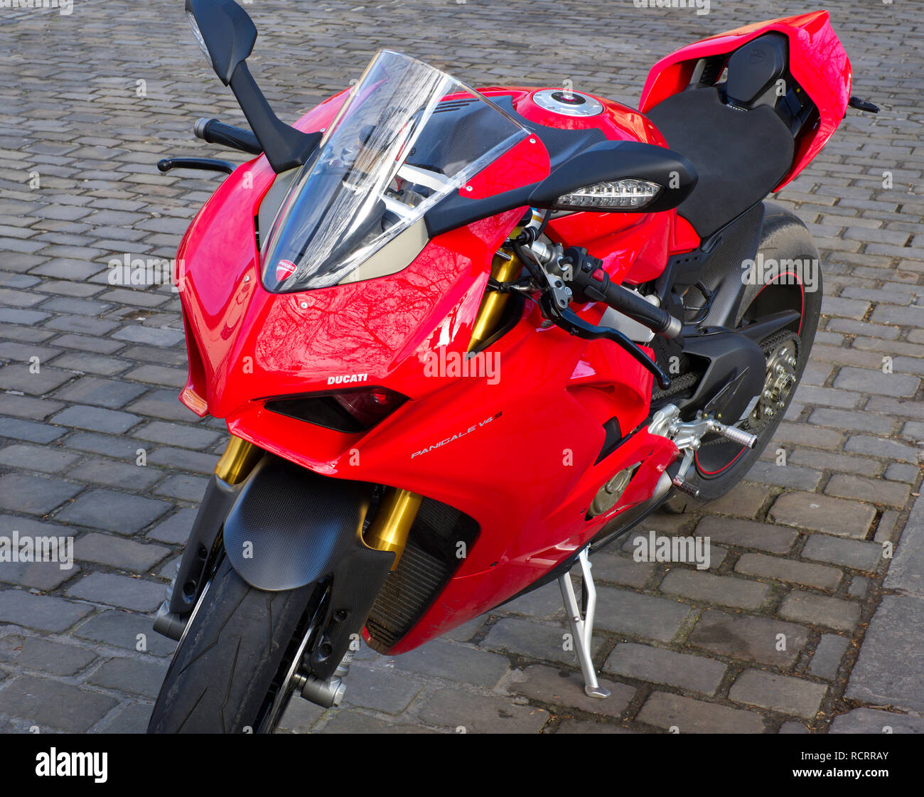 A parked 2018 Ducati Panigale V4 S Superbike. - Stock Image