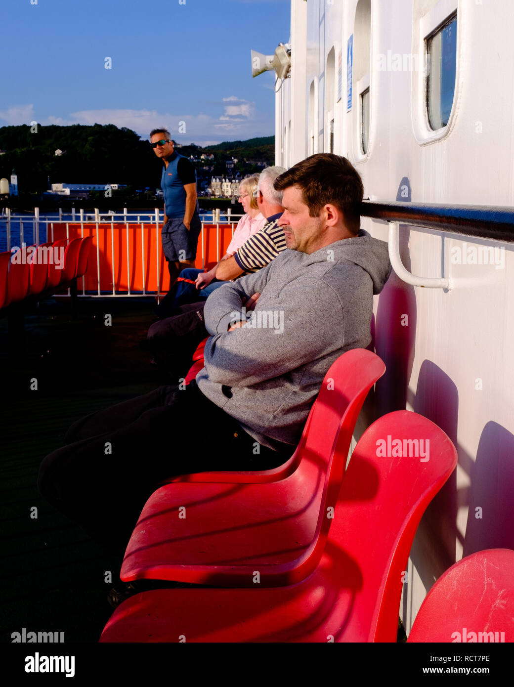 Passengers on board Craignure to Oban ferry crossing highlands Scotland Stock Photo