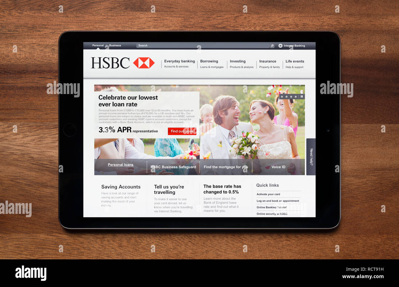 The website of HSBC bank is seen on an iPad tablet, which is