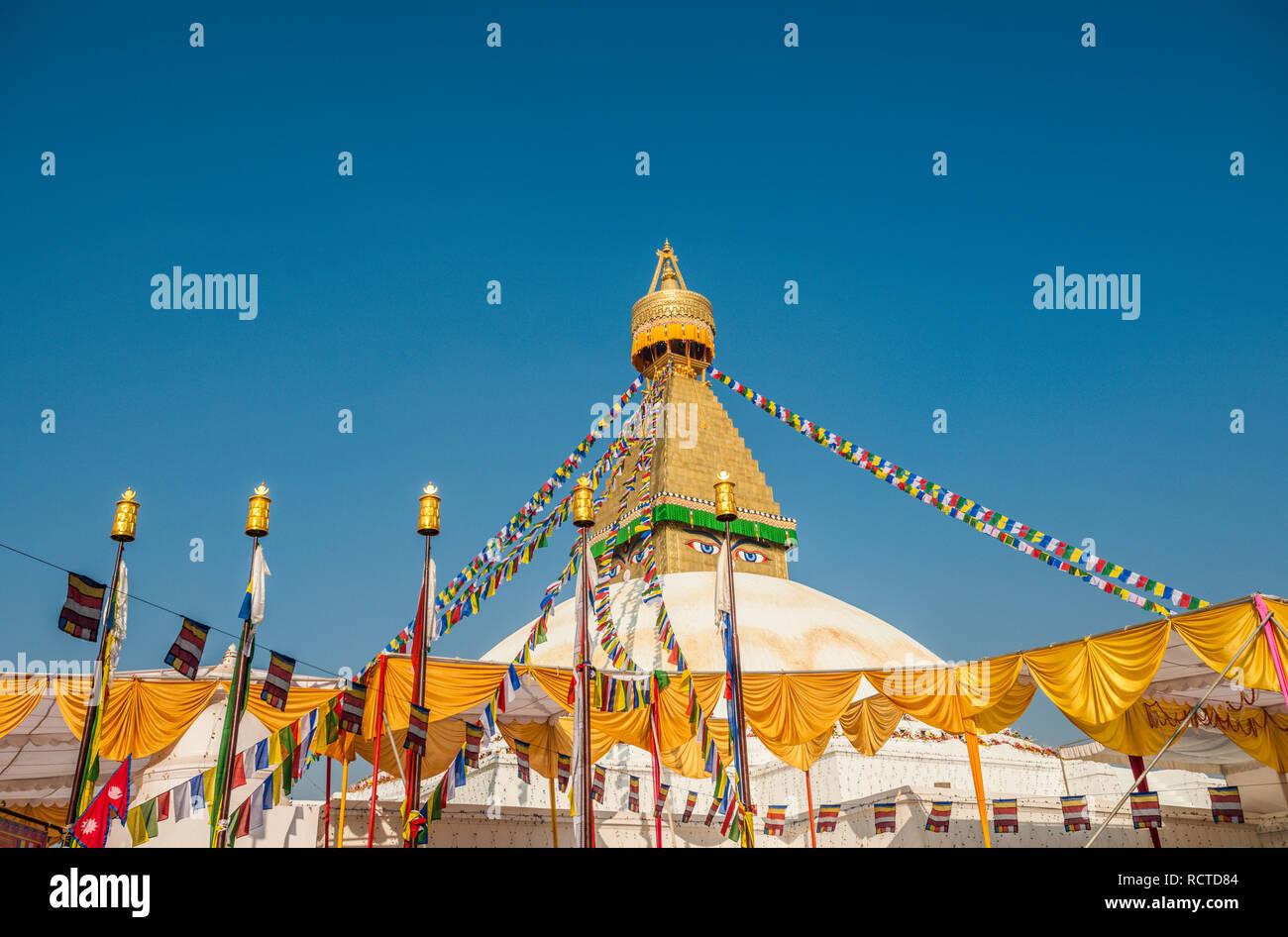 The dome and gold spire of Bodhnath Stupa, Kathmandu, Nepal. - Stock Image