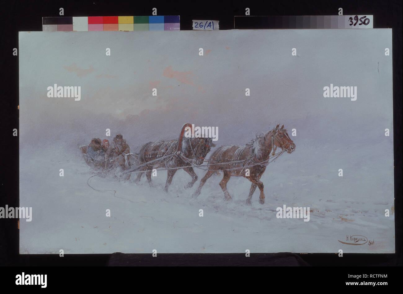 Snowstorm. Museum: State Regional I. Pozhalostin Art Museum, Ryasan. Author: Karasin, Nikolai Nikolayevich. - Stock Image