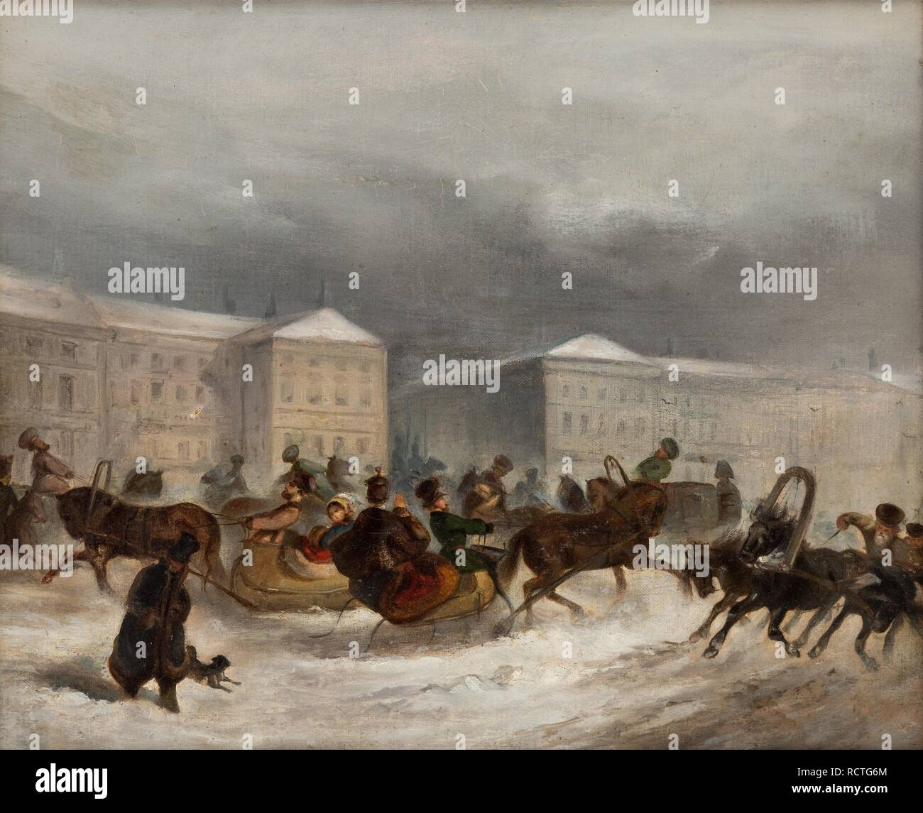 Winter Sleigh Rides. Museum: PRIVATE COLLECTION. Author: ANONYMOUS. Stock Photo
