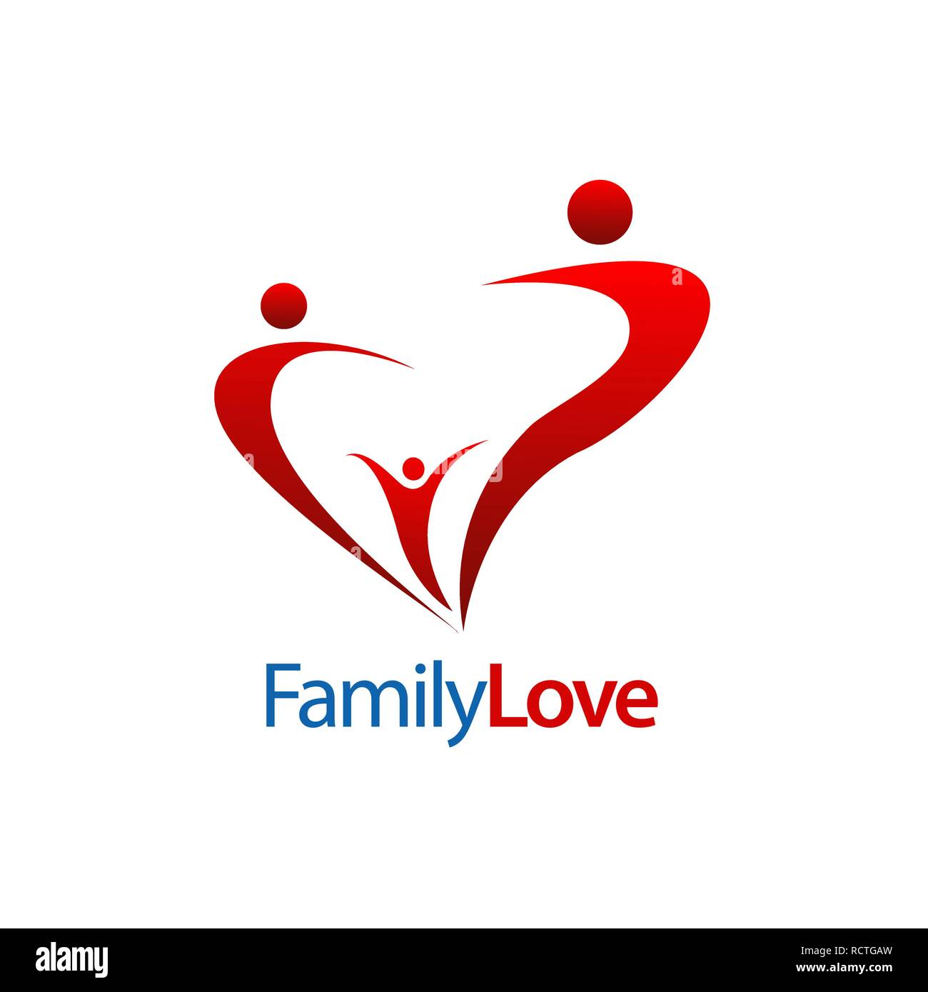 Human character family love logo concept design. Symbol graphic template element vector - Stock Vector