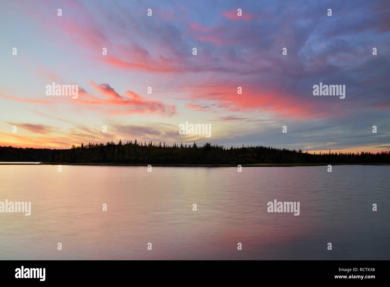 Prosperous Lake at sunset, Yellowknife, Northwest Territories, Canada - Stock Image