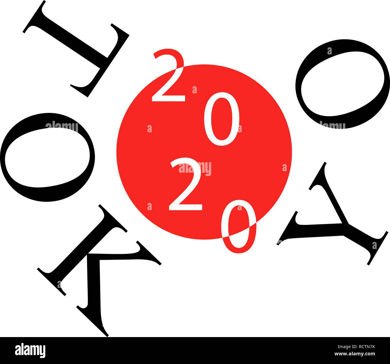 2020 on japanese flag, illustration for the summer games of 2020. Olympic games in Tokyo. - Stock Vector