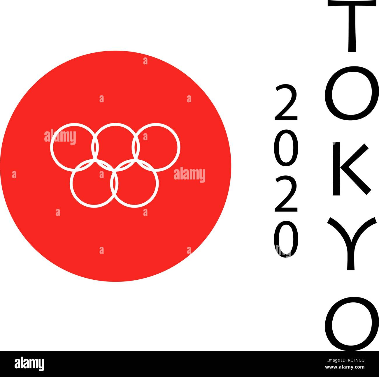 TOKYO JAPAN 2020 Olympic games in Tokyo. Olympic rings in flag and text. On white background. - Stock Vector
