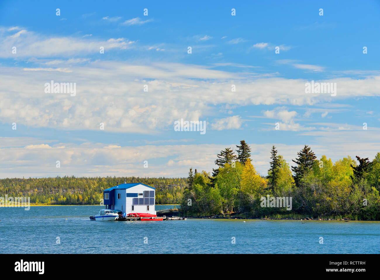 Houseboat on Great Slave Lake, Yellowknife, Northwest Territories, Canada - Stock Image