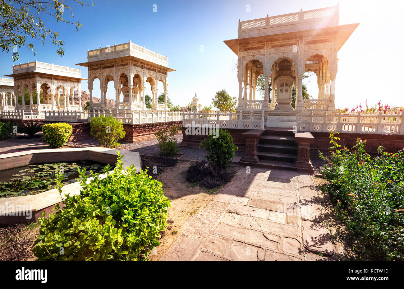 White marble cenotaph in memorial Jaswant at blue city in sunny day in Jodhpur, Rajasthan, India - Stock Image