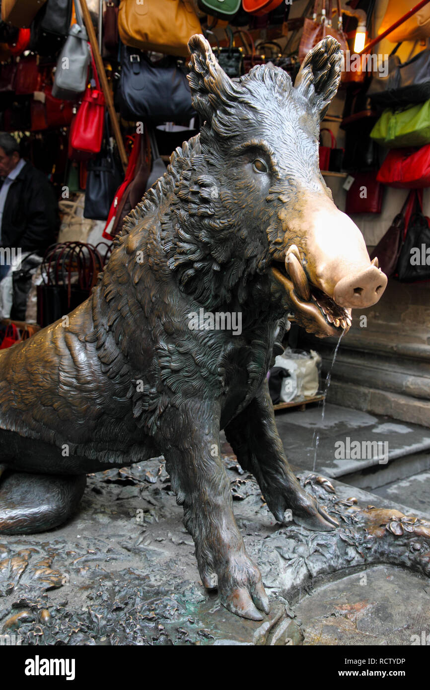 Bronze boar in Florence who many believe will impart luck if rubbed. - Stock Image