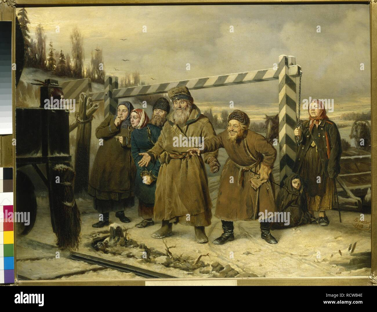 A scene at the Railroad. Museum: State Tretyakov Gallery, Moscow. Author: Perov, Vasili Grigoryevich. - Stock Image