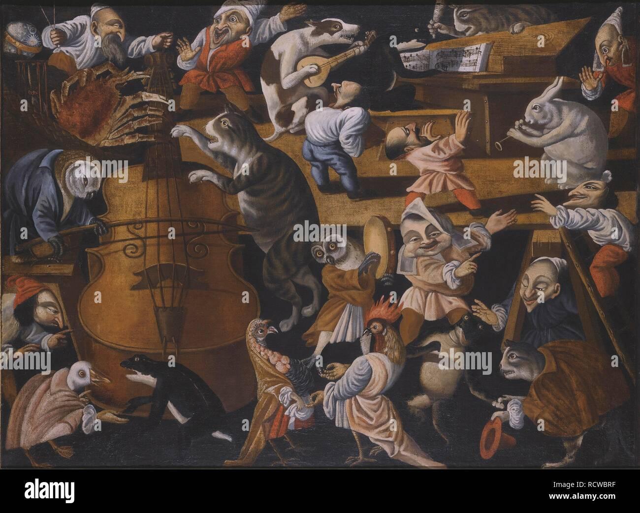 A concert of animals, birds and stylised figures. Museum: PRIVATE COLLECTION. Author: Maestro della Fertilità dell'Uovo. - Stock Image