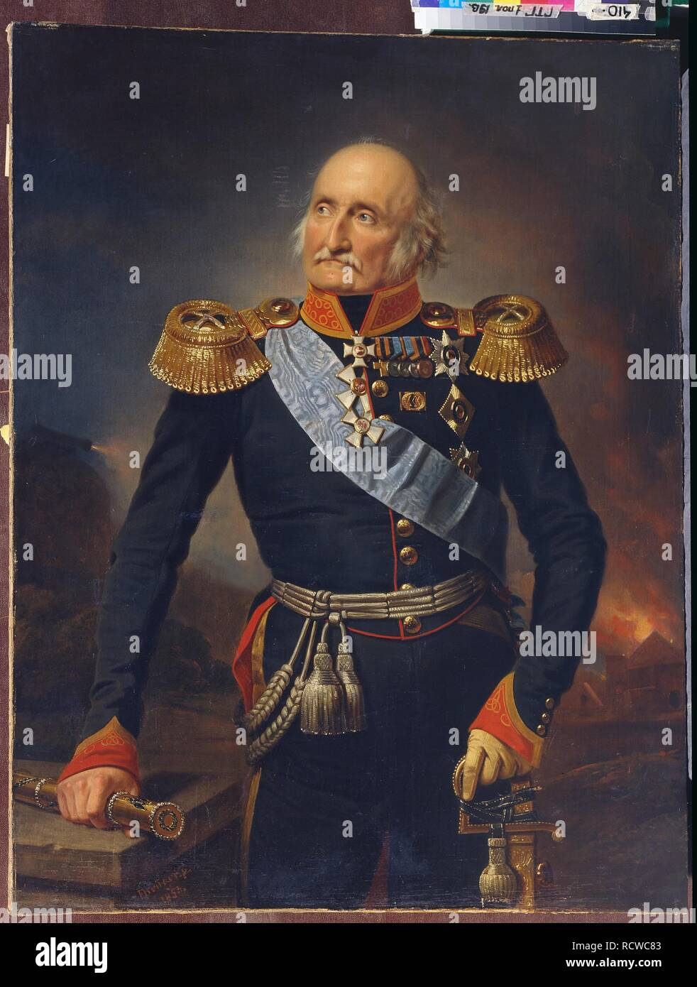 Portrait of Field Marshal Count Ludwig Adolf Peter of Sayn-Wittgenstein-Ludwigsburg (1769-1843). Museum: State Tretyakov Gallery, Moscow. Author: Krüger, Franz. - Stock Image