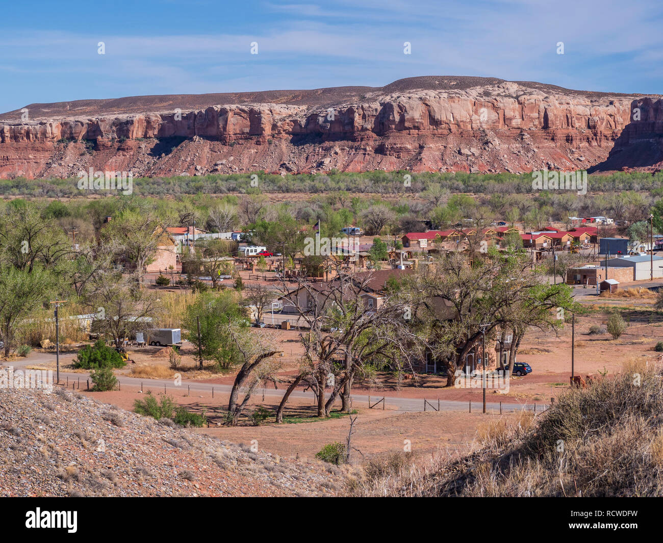 Looking down on town from the top of Cemetery Hill, Bluff, Utah. - Stock Image