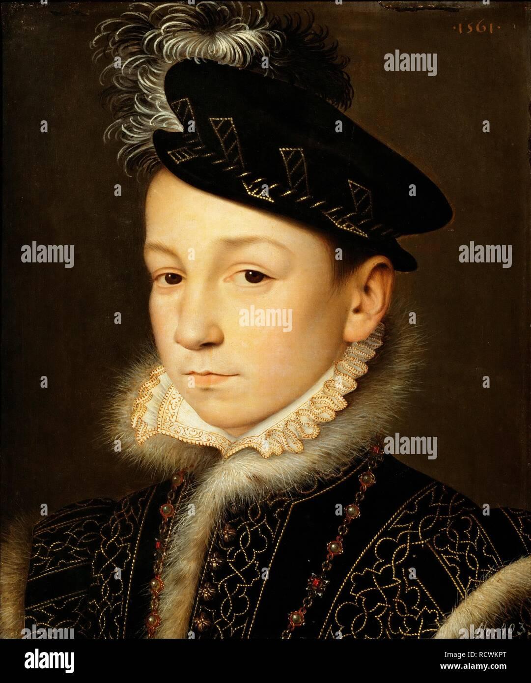 Portrait of King Charles IX of France (1550-1574). Museum: Art History Museum, Vienne. Author: CLOUET, FRANÇOIS. Stock Photo